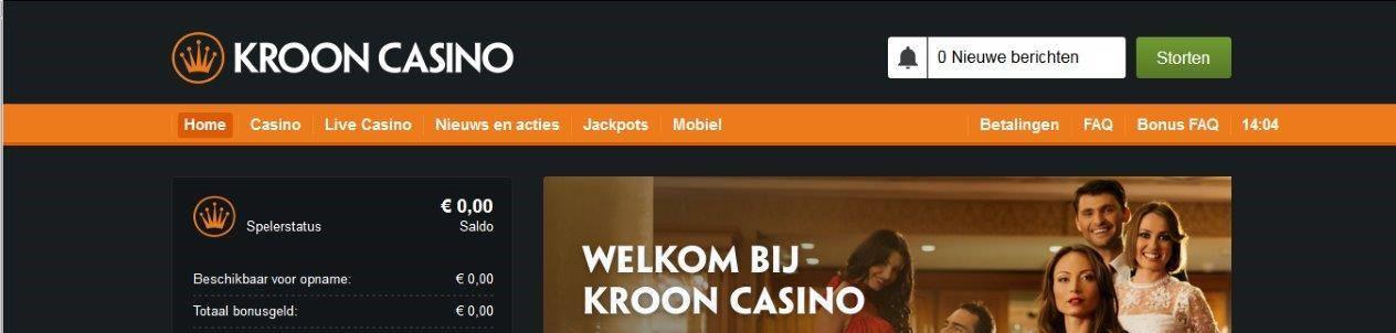 Krooncasino mobiel header image